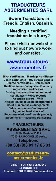 Traducteurs Assermentes SARL,sworn translators,French,English,Spain,certified translation,La Rochelle,Charente Maritime,France,Birth certificates,Marriage certificates,death certificates-uk divorce papers,degree certificates,professional qualifications,passports,company registration certificates,driving licences,non impediment certificates,police records,adoption papers,wills,articles of association,incorporation,court summonses,judgements,sales contracts,employment agreements,letters of recommendations,pre sale property agreements,academic transcripts