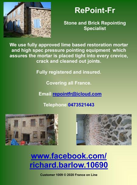 Repoint fr,stone and brick repointing specialist,all France,lime based restoration mortar,high spec pressure pointing,registered,insured