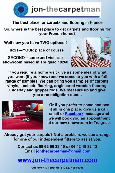 Jon the carpet man,Limousin,France,English carpets in France,flooring,showroom Treignac,19260,vinys,laminate flooring,engineered wooden flooring,underlay,gripper rods