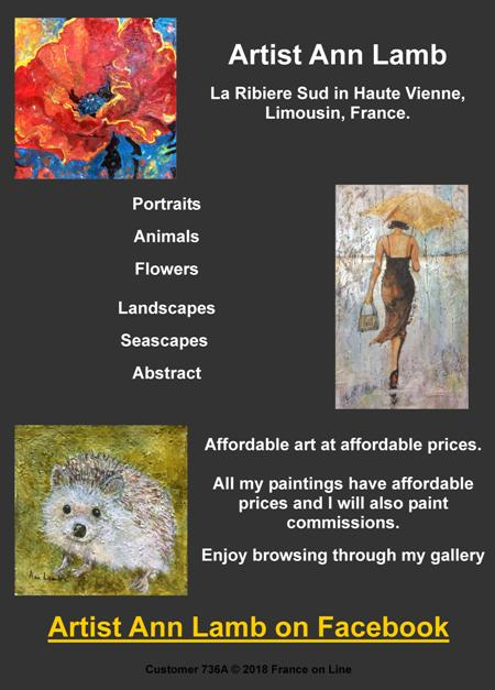 Artist Ann Lamb,La Ribiere Sud, Haute Vienne,Limousin,France,portraits,animals,flowers,landscapes,seascapes,abstract