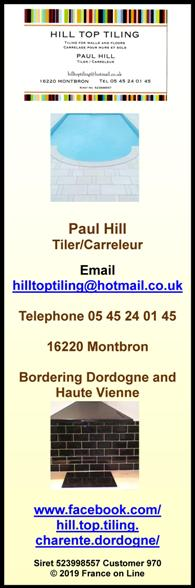 Hill Top Tiling,Paul Hill,English speaking tileer,tiling,walls,floors,carrelage,murs,sols,tiler,carreleur,Dordogne,Charente,Haute Vienne
